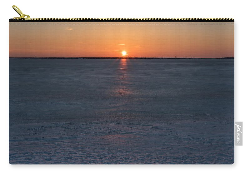 Terry Deluco Carry-all Pouch featuring the photograph Frozen Bay Sunset Jersey Shore by Terry DeLuco