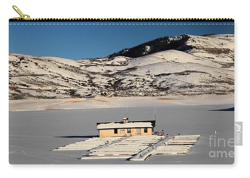Blue Mesa Reservoir Carry-all Pouch featuring the photograph Frozen Dock by Adam Jewell