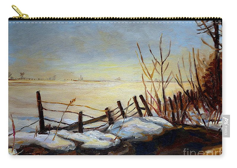 Frozen Lake Near Ste Adele Carry-all Pouch featuring the painting Frozen Lake Near Ste. Adele by Carole Spandau