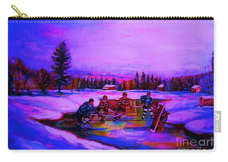 Hockey Carry-all Pouch featuring the painting Frozen Pond by Carole Spandau