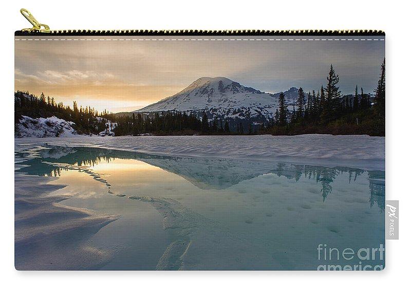 Rainier Carry-all Pouch featuring the photograph Frozen Rainier Vision by Mike Reid