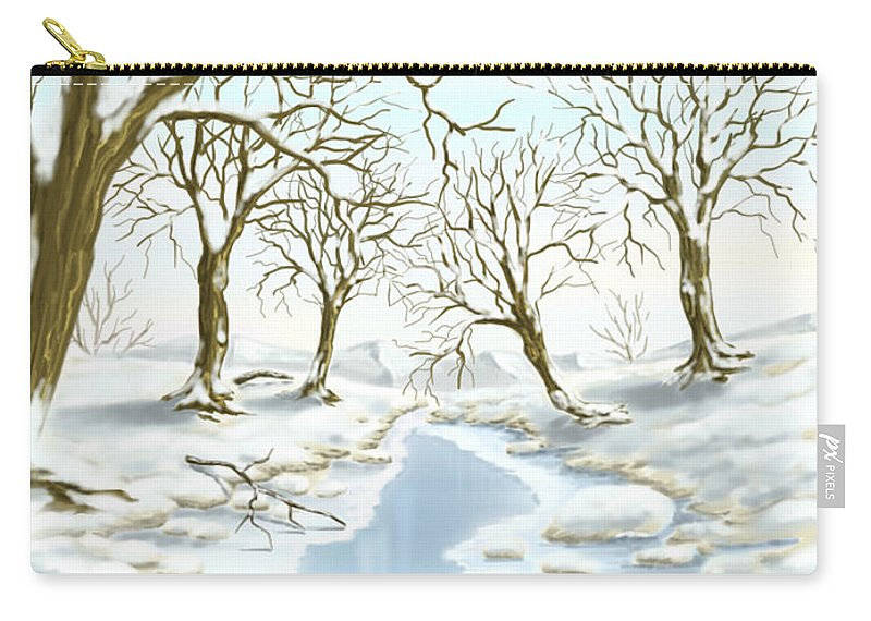 Ipad Carry-all Pouch featuring the painting Frozen River by Veronica Minozzi
