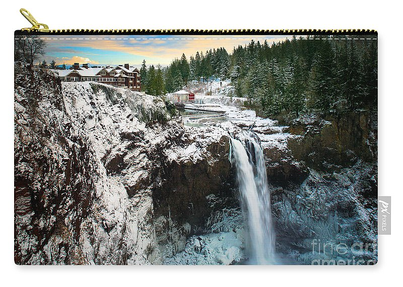 America Carry-all Pouch featuring the photograph Frozen Snoqualmie Falls by Inge Johnsson