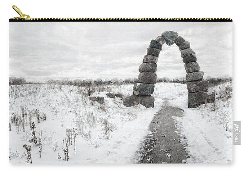 Snow Carry-all Pouch featuring the photograph Frozen Stone Arch by Scott Norris