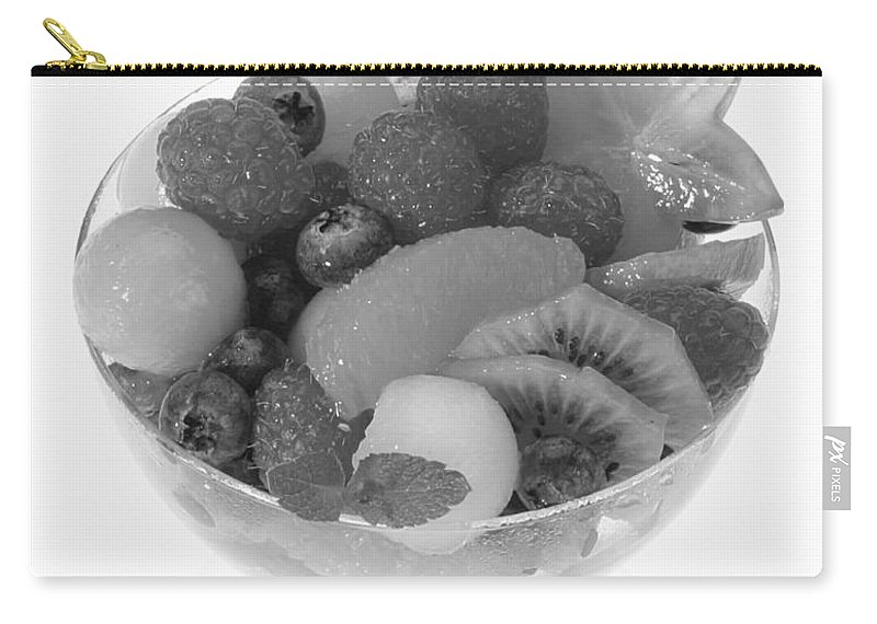 Food Carry-all Pouch featuring the photograph Fruit Salad Cup Black And White by Iris Richardson