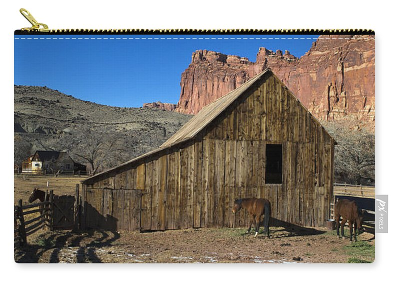 Capitol Reef Carry-all Pouch featuring the photograph Fruita Horse Stable Capitol Reef National Park Utah by Jason O Watson