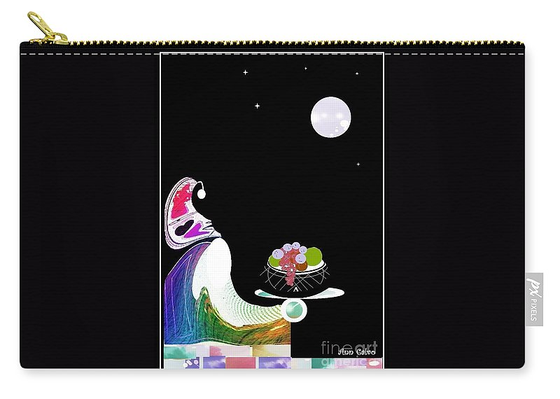 Moon Carry-all Pouch featuring the digital art Fruitful by Ann Calvo