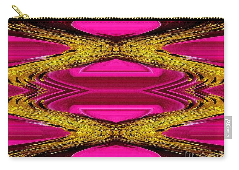 Sensation Carry-all Pouch featuring the painting Fuchsia Sensation Zigzags by J McCombie