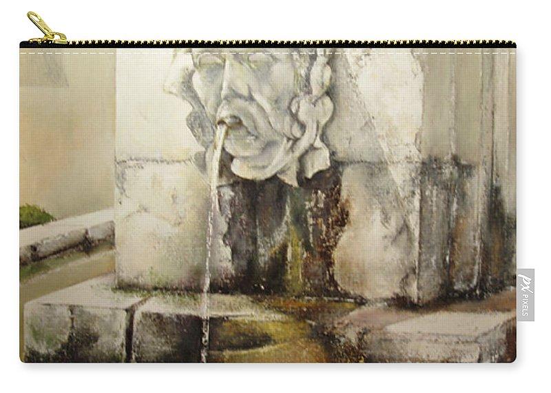 Fuente De San Isidoro- Leon Carry-all Pouch featuring the painting Fuente de San Isidoro by Tomas Castano