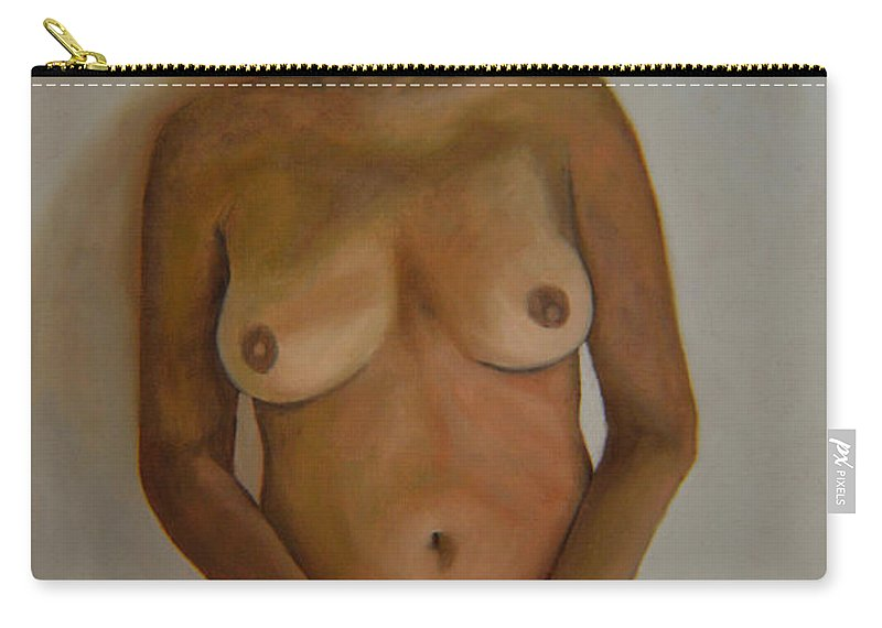 Nude Carry-all Pouch featuring the painting Full Frontal Well Almost by Thu Nguyen