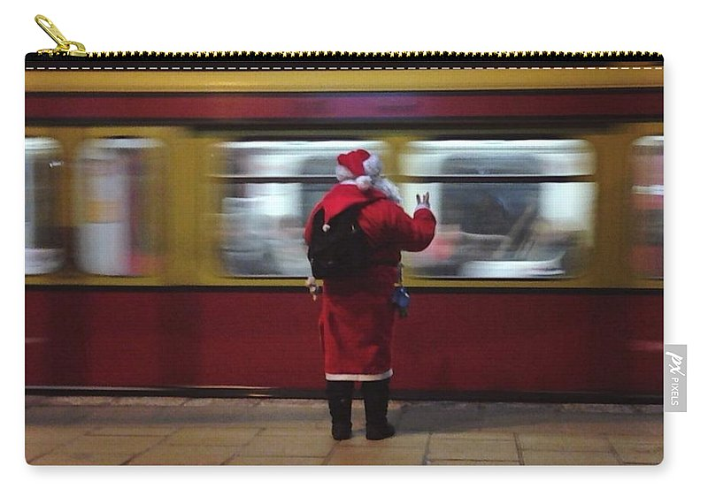 Passenger Train Carry-all Pouch featuring the photograph Full Length Rear View Of Man In Santa by Monika Kanokova / Eyeem