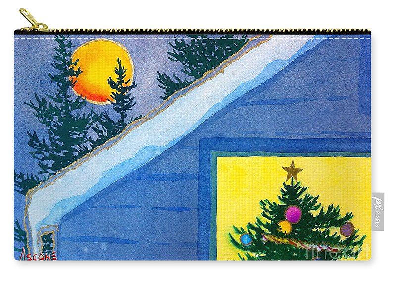 Full Moon At Christmas Carry-all Pouch featuring the painting Full Moon At Christmas by Teresa Ascone