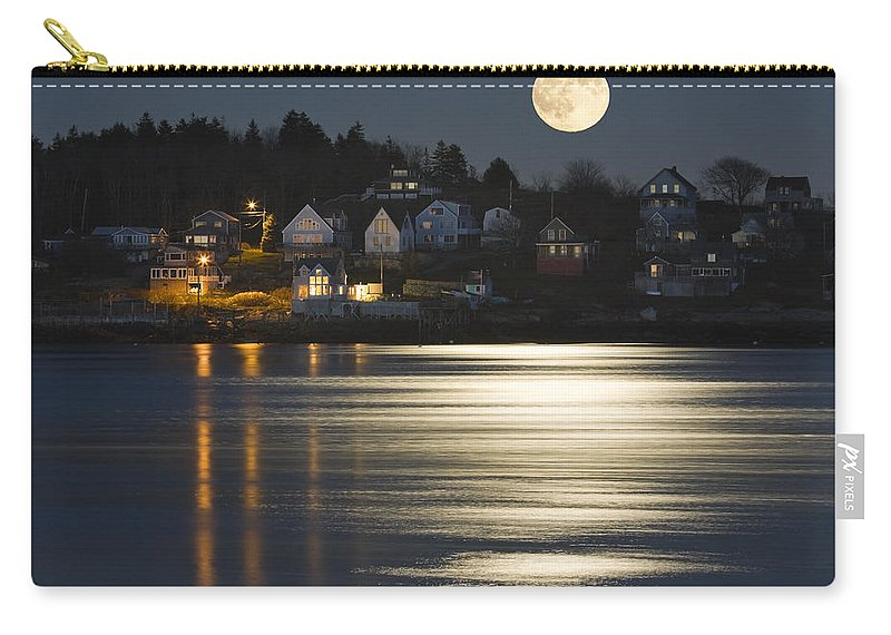 Georgetown Island Carry-all Pouch featuring the photograph Full Moon Over Kennebec River Georgetown Island Maine by Keith Webber Jr
