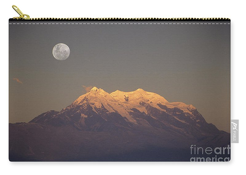 Bolivia Carry-all Pouch featuring the photograph Full Moon Rise Over Mt Illimani by James Brunker