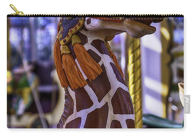 Giraffe Carry-all Pouch featuring the photograph Fun Giraffe Carousel Ride by Garry Gay