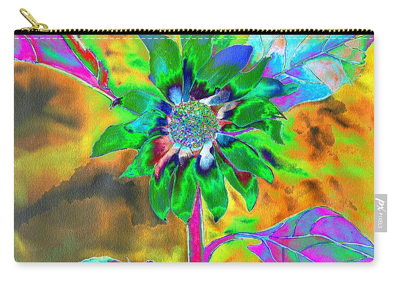 Sunflower Painting Carry-all Pouch featuring the painting Fun In The Sun by H Cooper