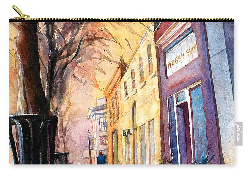 Fuquay-varina Carry-all Pouch featuring the painting Fuquay-varina Downtown by Ryan Fox