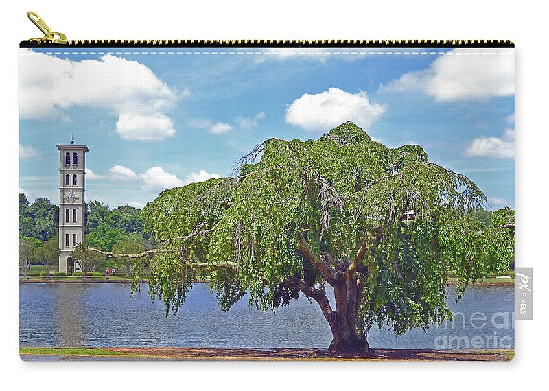 Trees Carry-all Pouch featuring the photograph Furman Tree And Tower by Larry Bishop
