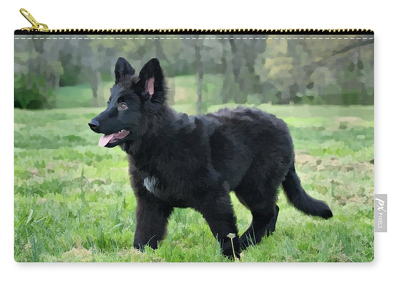 German Shepherd Puppy Carry-all Pouch featuring the photograph Furry Puppy by Sandy Keeton