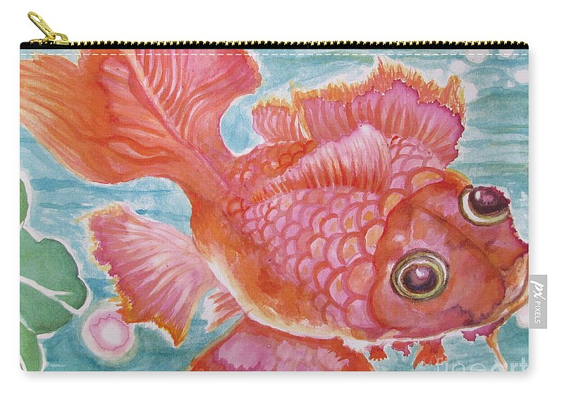 Spontaneous Application Carry-all Pouch featuring the painting Fuschia Goldfish by Lynn Maverick Denzer
