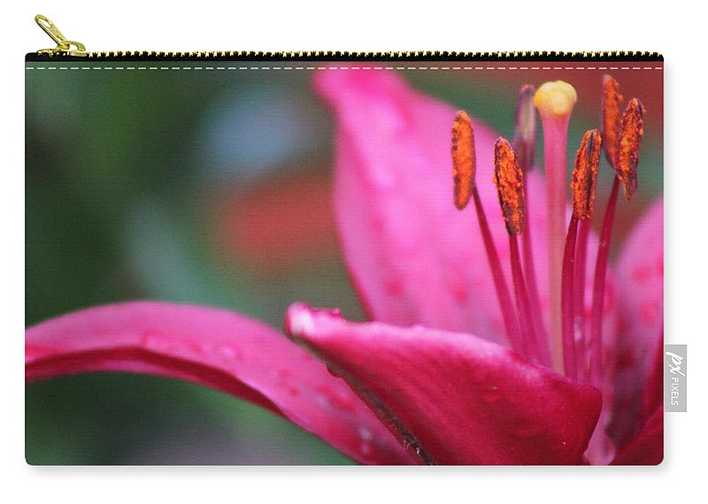Fuschia Lily Carry-all Pouch featuring the photograph Fuschia Lily by Linda Sannuti