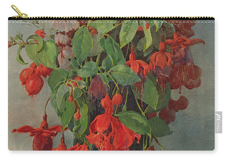 Fuchsia And Snapdragon In A Vase Carry-all Pouch featuring the painting Fushia And Snapdragon In A Vase by William Jordan