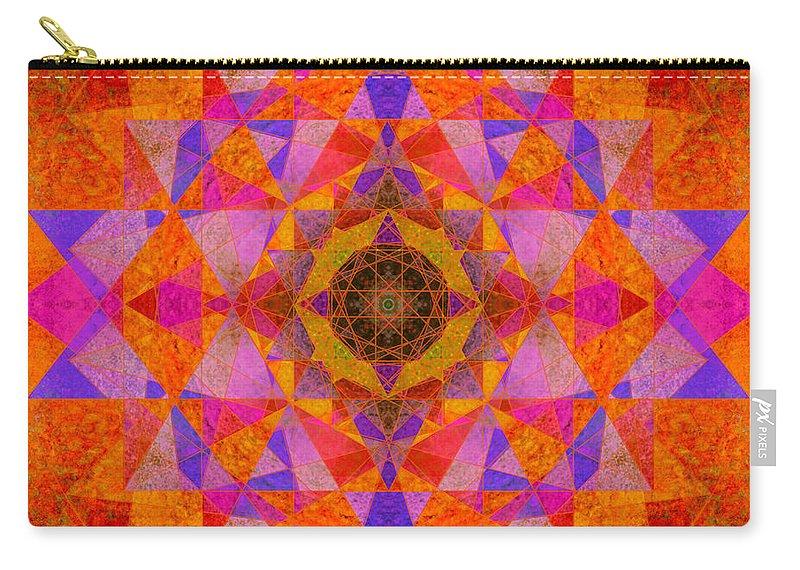Rainbow Carry-all Pouch featuring the photograph Fushia Yantra Diamond Mandala by Susan Bloom