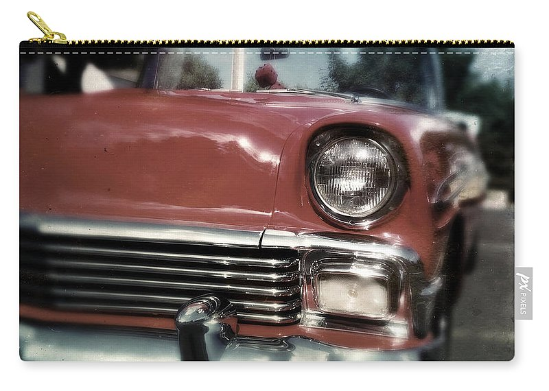 Classic Carry-all Pouch featuring the photograph Fuzzy Dice Chevy by Tim Nyberg