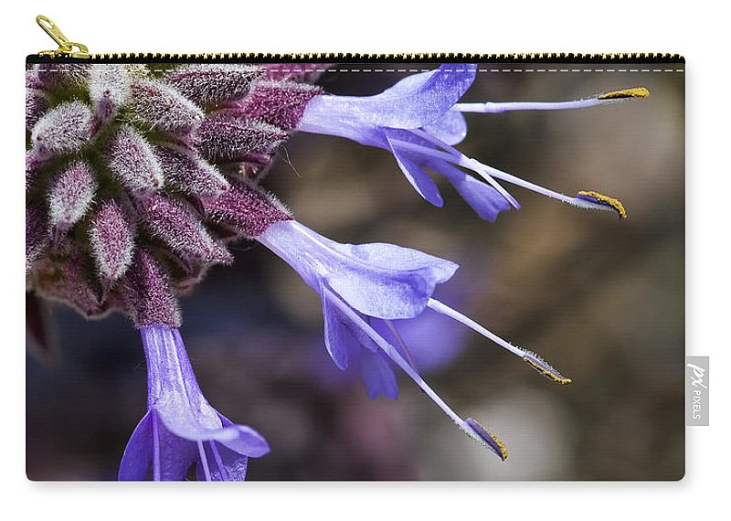 Macro Flowers Carry-all Pouch featuring the photograph Fuzzy Purple Detail 2 by Kelley King