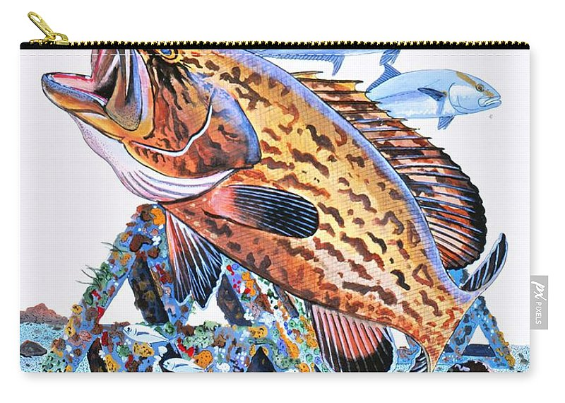 Gag Grouper Carry-all Pouch featuring the painting Gag Grouper by Carey Chen