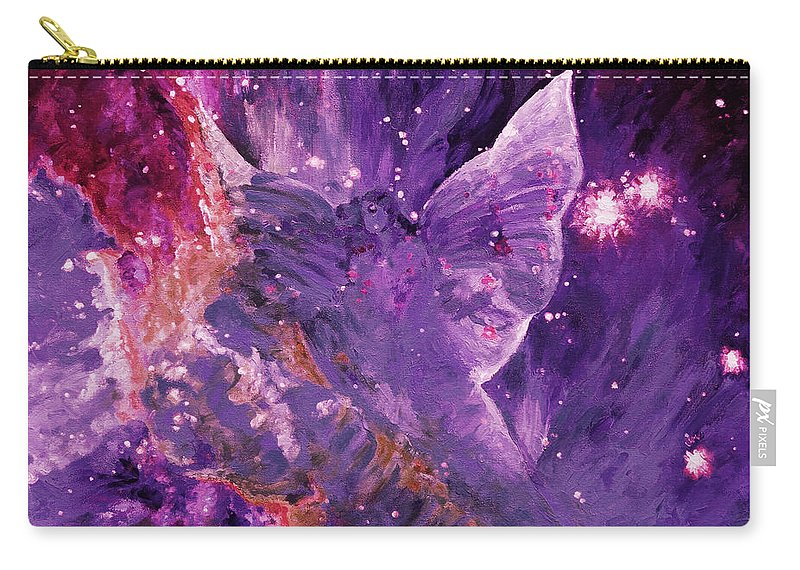 Galactic Angel Carry-all Pouch featuring the digital art Galactic Angel - Rose by Julie Turner