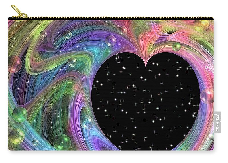 Fractal Carry-all Pouch featuring the digital art Galactic Love by Peggy Hughes