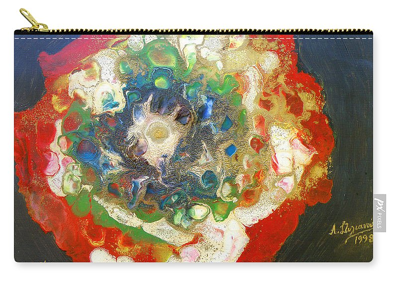 Augusta Stylianou Carry-all Pouch featuring the painting Galaxy With Solar Systems by Augusta Stylianou