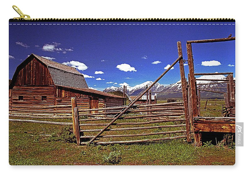 Wyoming Carry-all Pouch featuring the photograph Gambrel Barn And Tetons by Rich Walter