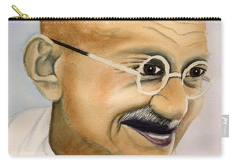 Carry-all Pouch featuring the painting Gandhi by Mohamed Hirji