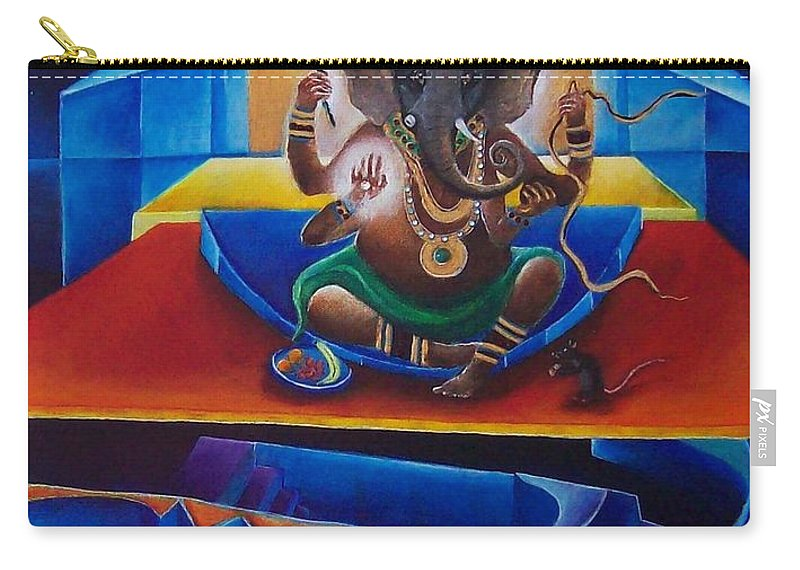 Ganesha Carry-all Pouch featuring the painting Ganesha by Wolfgang Schweizer