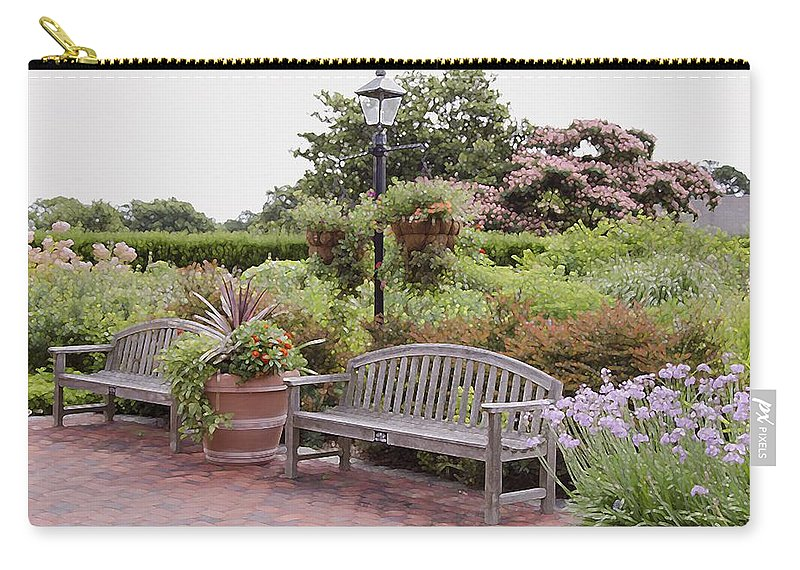 Bench And Containers Carry-all Pouch featuring the painting Garden Benches 6 by Jeelan Clark
