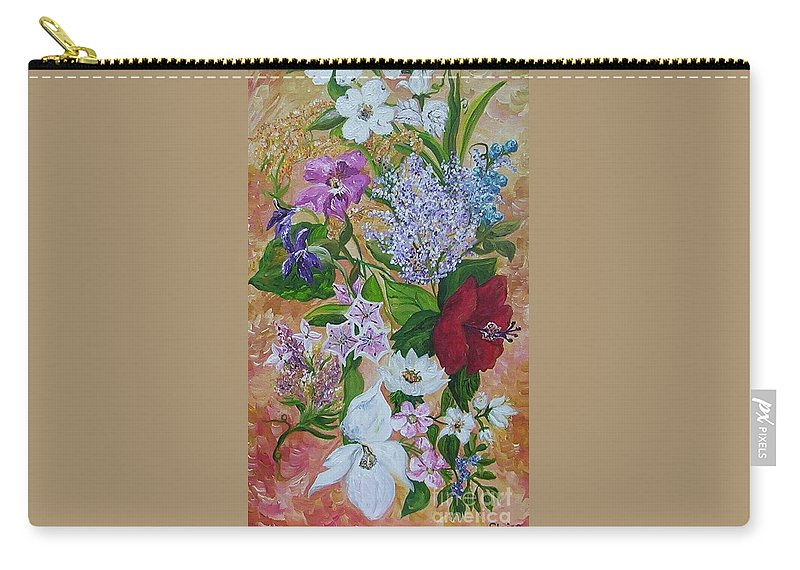 Flowers Carry-all Pouch featuring the painting Garden Delight by Eloise Schneider