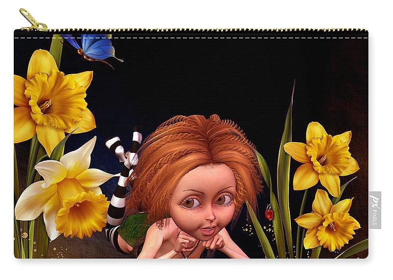 Fairy Paintings Carry-all Pouch featuring the digital art Garden Elf by John Junek