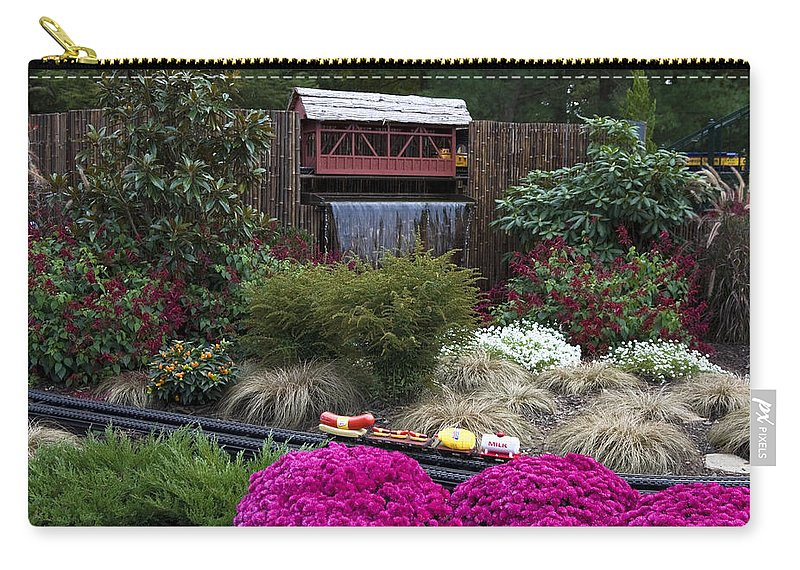 Outdoor Miniature Train Display Carry-all Pouch featuring the photograph Garden Miniature Train by Sally Weigand