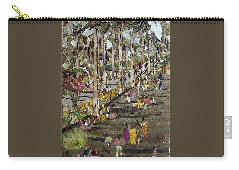 Garden Morning View Carry-all Pouch featuring the mixed media Garden Picnic by Basant Soni
