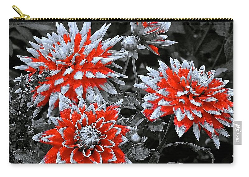 Monochrome Carry-all Pouch featuring the photograph Garden Pom Poms by Tim G Ross