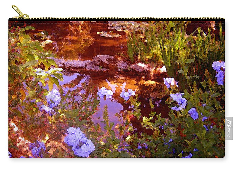 Landscapes Carry-all Pouch featuring the painting Garden Pond by Amy Vangsgard