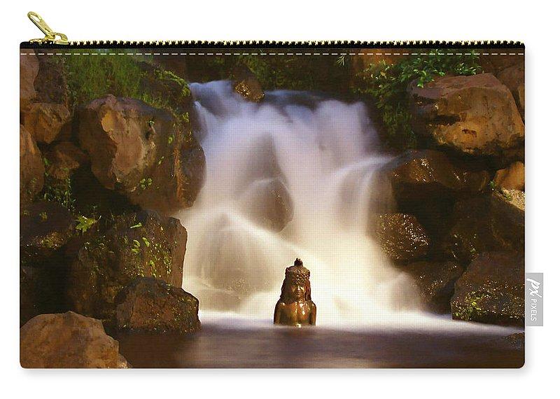 Garden Waterfall Carry-all Pouch featuring the photograph Garden Waterfall by Ellen Henneke