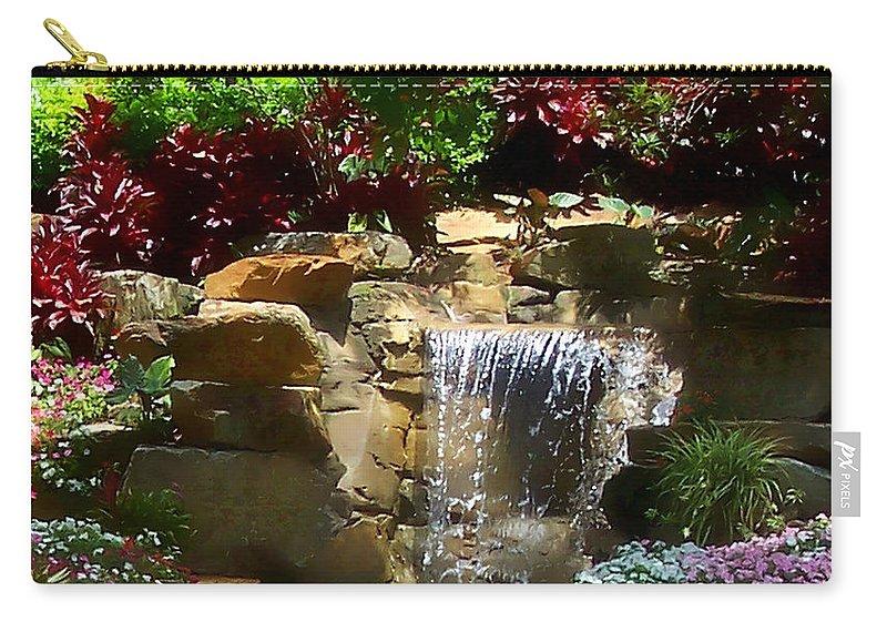 Garden Carry-all Pouch featuring the photograph Garden Waterfalls by Pharris Art