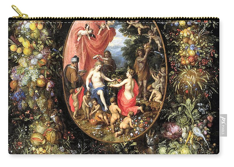 Garland Of Fruit And Flowers Around An Allegory On Agriculture Carry-all Pouch featuring the digital art Garland Of Fruit And Flowers by Jan Brueghel de Oude
