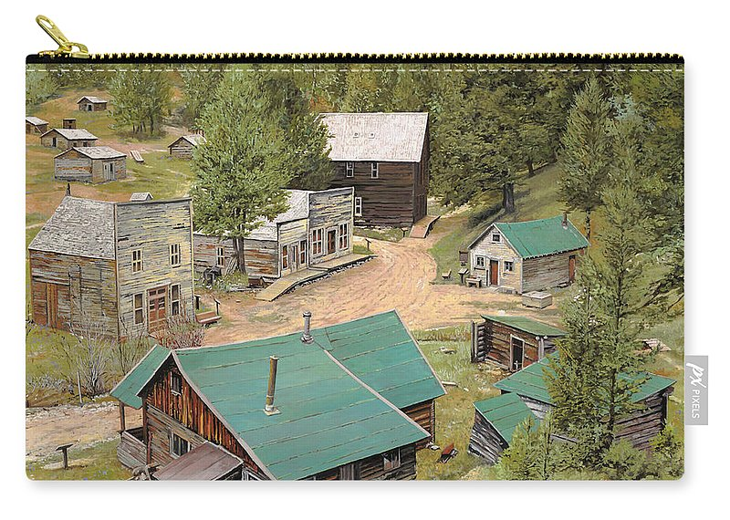 Ghost Town Carry-all Pouch featuring the painting Garnet In Montana by Guido Borelli