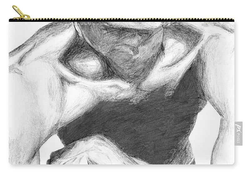 Garnett Carry-all Pouch featuring the drawing Garnett 2 by Tamir Barkan