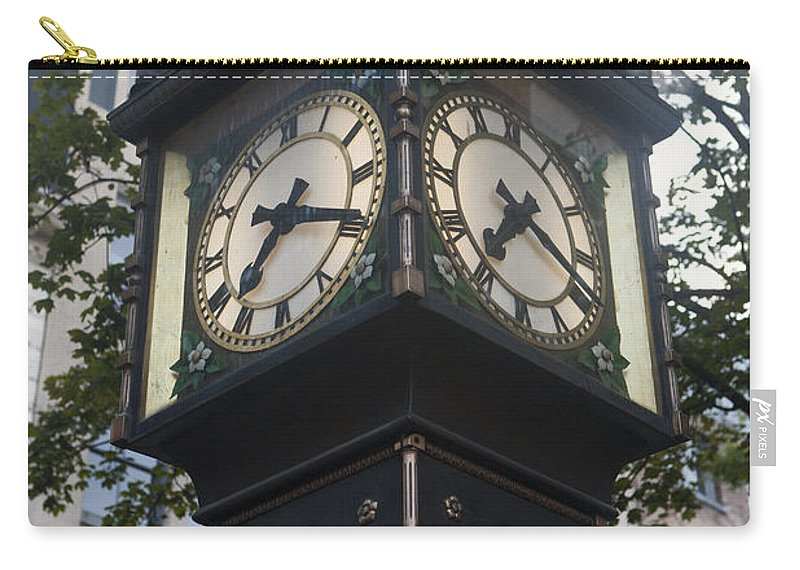 Travel Carry-all Pouch featuring the photograph Gastown Steam Clock by Jason O Watson