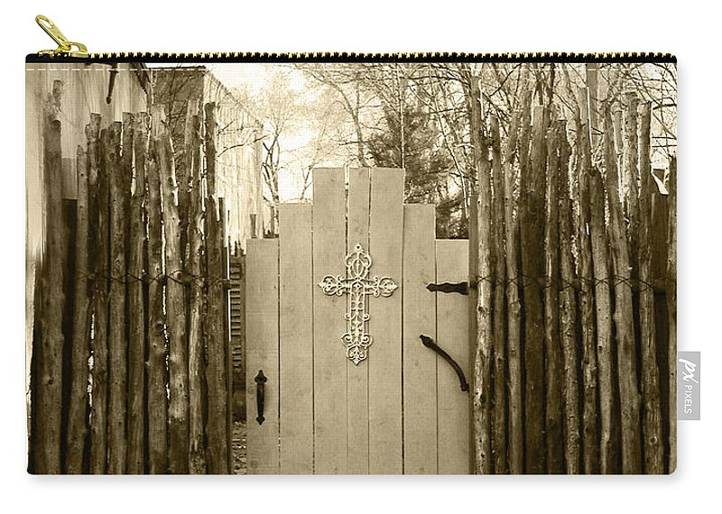 Doorway Carry-all Pouch featuring the photograph Gate Cross by Kathleen Grace